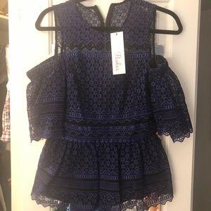 Parker lace NWT purple/black blouse! Size XS